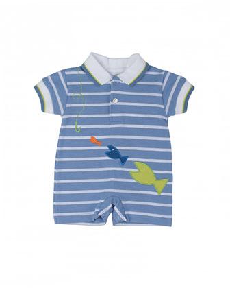 Striped Cotton Pique Shortall w/ Fish, Blue/White, 3-18 Months