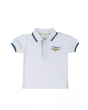 Short-Sleeve Tipped Pique Polo w/ Airplane, White, Size 12M-24M