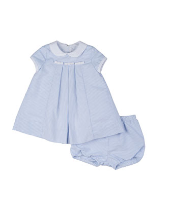 Striped Ottoman Dress & Bloomers, Blue/White