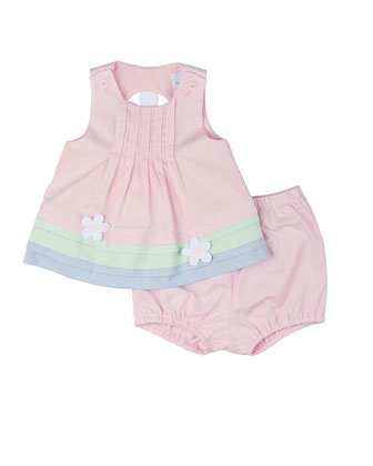 Pique Dress & Bloomers w/ Daisies, Pink, Size 3-24 Months
