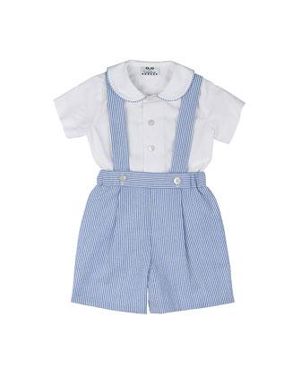 Seersucker Shorts w/ Suspenders & Poplin Shirt, Royal/White, Size 3-24 Months