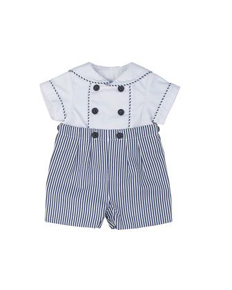 Striped Pique Shorts w/ Sailor Shirt, Navy/White, Size 3-24 Months