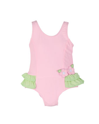 One-Piece Swimsuit w/ Ruffles, Pink/Green, Size 6M-24M