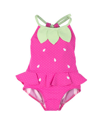 Strawberry One-Piece Swimsuit, Fuchsia, Size 6M-24M
