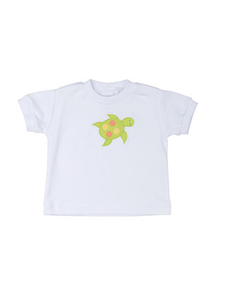 Short-Sleeve Jersey Tee w/ Turtle, White, Size 6M-24M