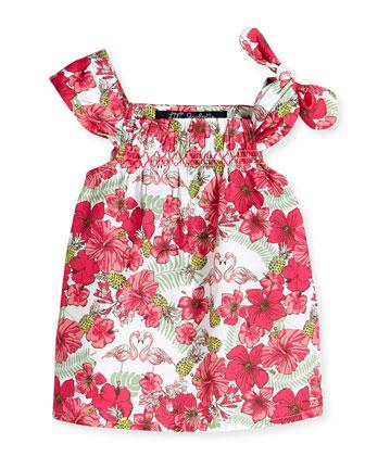 Sleeveless Tropical-Print Poplin Blouse w/ Tie Detail, Pink, Size 8-12