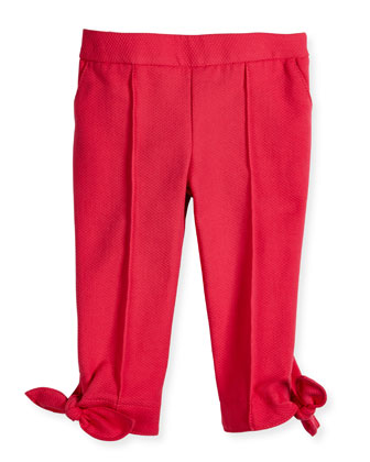Pique-Knit Pants w/ Bow Detail, Bright Pink, Size 8-12