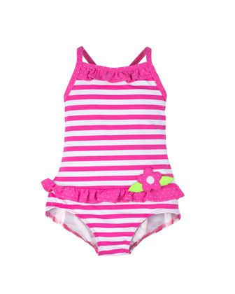 Striped One-Piece Swimsuit, Fuchsia/White, Size 9M-24M