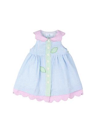 Striped Floral Seersucker Dress, Light Blue, Size 2T-4T