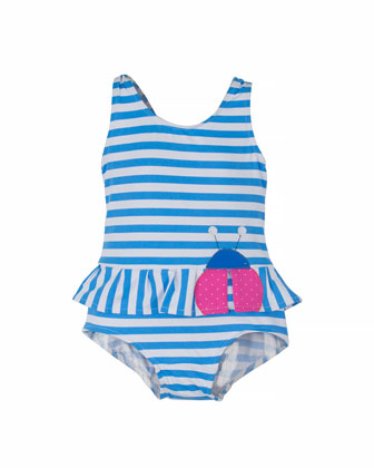 Striped One-Piece Swimsuit w/ Ladybug, Blue/White, Size 2T-4T