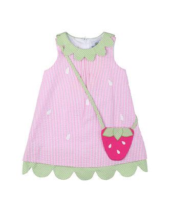 Striped Seersucker Shift Dress, Pink, Size 2T-6