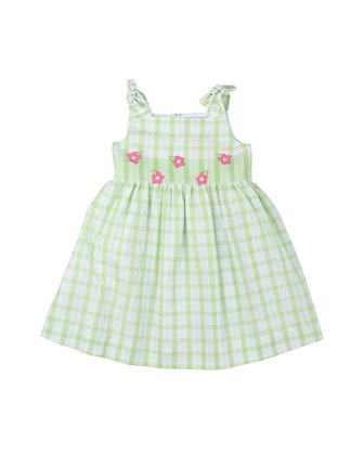 Plaid Seersucker Dress, White/Green, Size 2T-6X