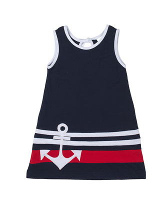 Cotton Pique Dress w/ Anchor Detail, Navy, Size 2T-6X