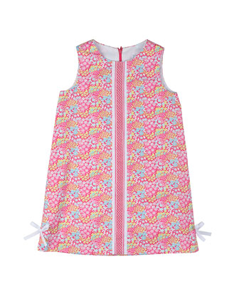 Floral Pique Shift Dress, Pink, Size 2T-6X