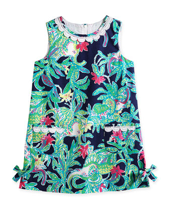 Little Lilly Tropical-Print Classic Shift Dress, Bright Navy, Size 2-10