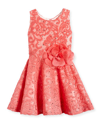 Sleeveless Floral Lace Dress, Coral, Size 7-14