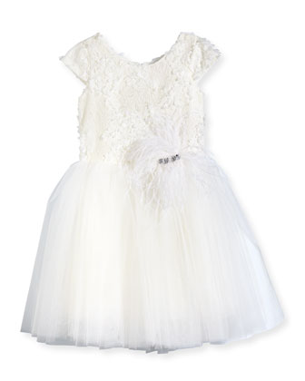 Lace & Tulle A-Line Dress, White, Size 7-14