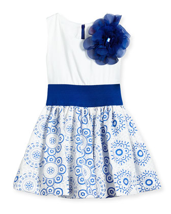 Sleeveless Dress w/ Lace Skirt, White/Blue