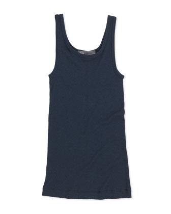 Girls' Favorite Ribbed Tank Top, Blue, S-XL