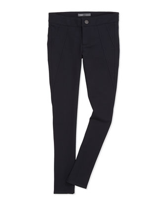 Wrap-Seam Ponte Leggings, Black, Girls' Sizes 7-14