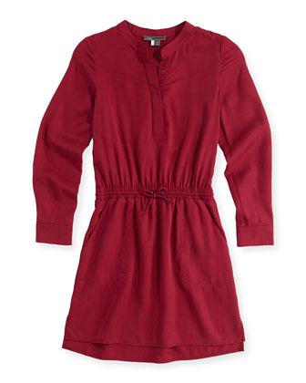 Tencel?? Drawstring Shirtdress, Pink, Girls' S-XL