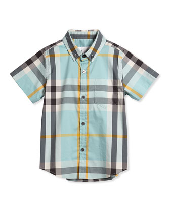 Short-Sleeve Check Poplin Shirt, Pale Cyan Green, Size 4Y-14Y