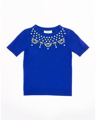 Embellished Knit Tee, Cobalt, Size 2-7