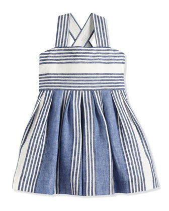 Uneven-Striped Linen/Cotton Sundress, Blue, Size 7-14