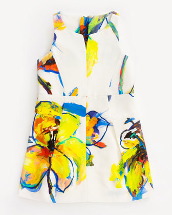 Pop Art-Print Racerback Faille Dress, White, Sizes 8-14