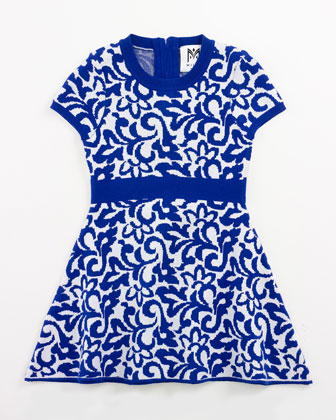 Floral-Jacquard Fit-and-Flare Dress, Cobalt, Size 8-14