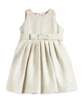 Floral-Jacquard Dress, Platinum/Ivory, Sizes 7-14