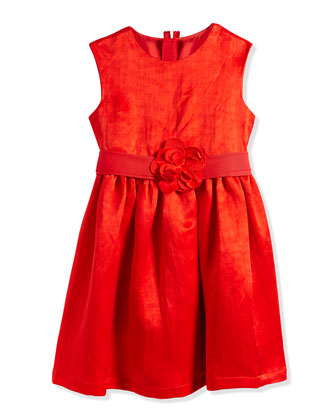Duchess-Washed Linen Dress, Poppy Red, Size 4-6