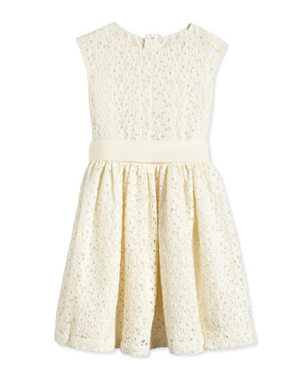 Fit-and-Flare Lace Dress, Cream, Size 4-6
