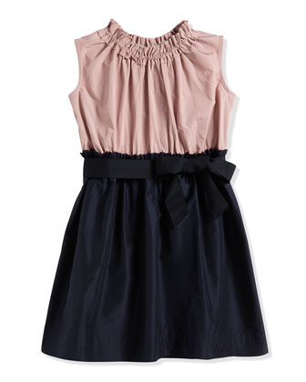 Fit-and-Flare Taffeta Dress, Navy/Cream, Size 4-6