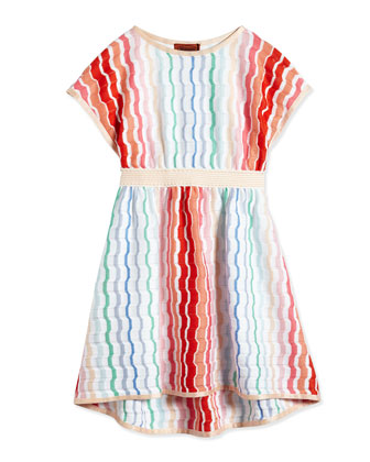 Grechina Degrade Pointelle-Stripe High-Low Dress, Multicolor, Size 2T-10