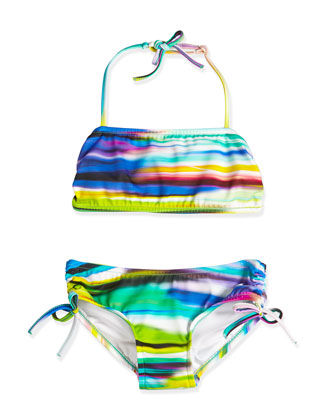 Brushstroke-Print Two-Piece Swimsuit, Multicolor, Size 2-7