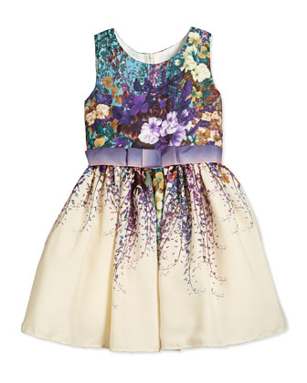 Sleeveless Floral-Print Chiffon Dress, Turquoise/Ivory
