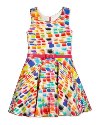 Chiclet Rainbow-Print Scuba Swing Dress, Multi, Size 2-6X