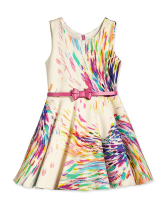 Firework-Print Scuba Swing Dress, Multi, Size 2-6X