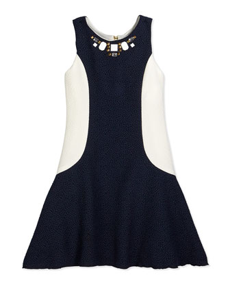 Pebble-Knit Fit-and-Flare Colorblock Dress, Navy/White, Size 7-14