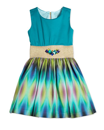 Sleeveless Tie Dyed Party Dress, Aqua, Size 7-14