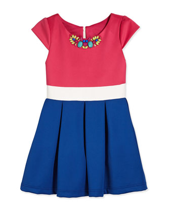 Cap-Sleeve Tricolor Scuba Dress, Pink/White/Royal, Size 7-14