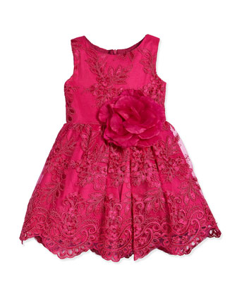 Embroidered Floral-Lace Dress, Pink, Size 7-14