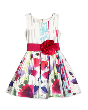 Poppy-Print Party Dress, Multicolor, Size 7-14