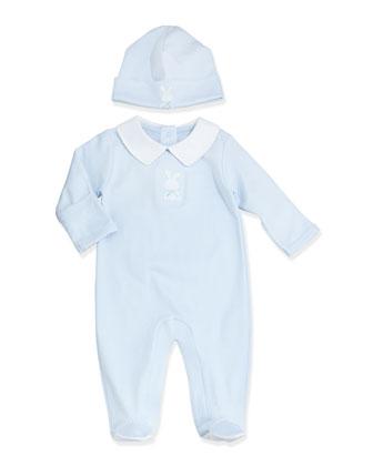 Pique Bunny Footie Pajamas, Light Blue, Size NB-6 Months