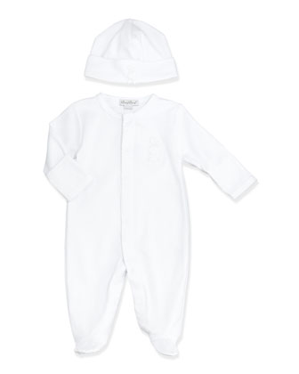 Pique Bunny Footie Pajamas, White, Size NB-6 Months