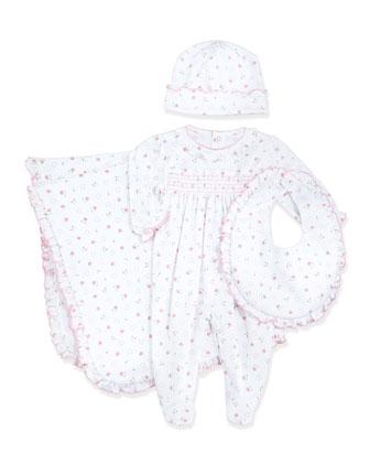 Sweetheart Roses Footie Pajamas, Baby Hat, Blanket & Bib, Pink