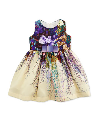 Secret Garden A-Line Chiffon Dress, Cream/Multicolor, Size 12-24 Months