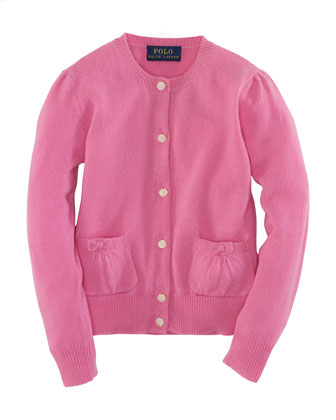 Long-Sleeve Cardigan, Hammond Pink, Size 2-6X