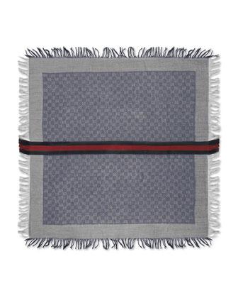 Olin Junior GG Fringe Scarf, Sapphire/Light Gray